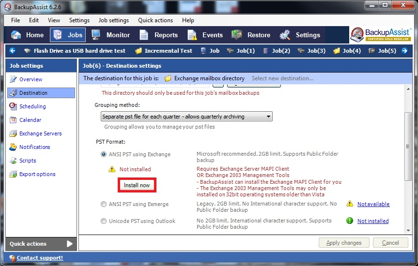 Install Exchange MAPI within BackupAssist